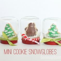 Mini Cookie Snow globes by @Ashleigh {bee in our bonnet} {bee in our bonnet} featured on iheartnaptime.com ...so cute!