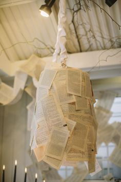 lamp decorated with book pages // photo by DanielleCapitoPhotography.com