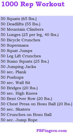 1000 rep work out