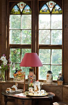 Office decorated with hunting memorabilia in the Manor House at Ladew Gardens window, the office, manor hous, offic decor