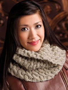"""Easy Cabled Cowl  Learn to knit cables with this stylish, NEW cowl design! Size: 12"""" wide x 21"""" circumference, unstretched. Made with medium (worsted) weight yarn and size 9 (5.5mm) 29"""" circular needle."""