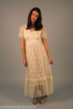 vtg 70s peasant LACE ruffle boho wedding goddess hippy tiered maxi DRESS gown