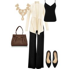 Simple work outfit. Particularly like the necklace.