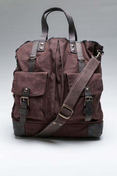 Dark brown canvas/leather bag.