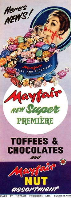 Sweetly inviting Mayfair toffees and chocolates. #vintage #ad #food #1950s #candy