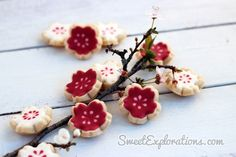 curved cherry blossom cookies