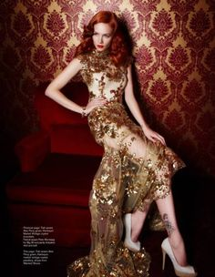 Dress with gold beading. I would wear this to the Oscars.