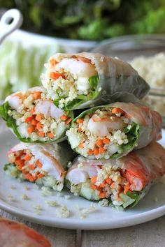 Roasted Shrimp Quinoa Spring Rolls ~ Quinoa is a wonderful protein-packed substitute for rice noodles in these easy spring rolls!
