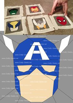 Captain America Quilt Block Pattern SUPERHERO QUILT. @Shelley Parker Herke Parker Herke Clayburn I'm not there yet, but this is something you should totally do!!