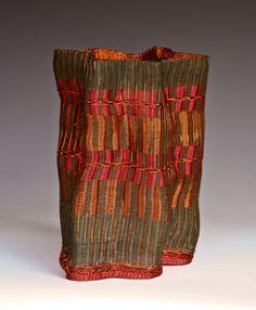 Frances Solar   FSolar-Vessel 8. Loom woven, copper wire, patina