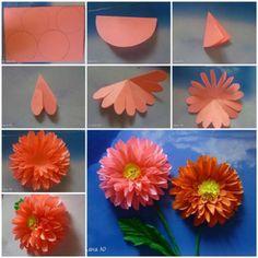 Простые бумажные цветы своими руками из бумаги