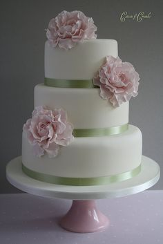 pink cakes, cake flowers, ribbons, green, weddings, cake recip, wedding cakes, bridal cakes, pink peonies