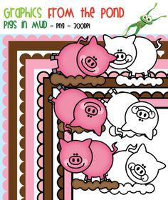 Pigs in Mud Clipart