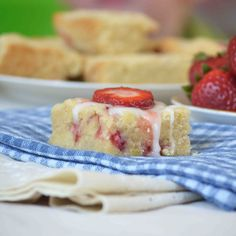 Strawberry Lemon Cookie Bars With Lemon Glaze