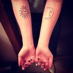 74 Matching Tattoo Ideas To Share With Someone You Love - BuzzFeed Mobile tattoo ideas, sun moon, arm tattoos, sunmoon, tattoo patterns, matching tattoos, couple tattoos, sister tattoos, friend tattoos