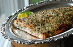 Broiled Salmon with Blue Cheese, Lemon & Dill