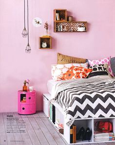 love the simple and not bulky under bed storage, and again, some hanging lights instead of a lamp on a nightstand
