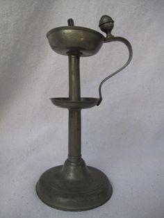 Antique Pewter Oil Lamp