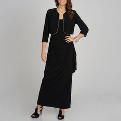 R Richards women's black rhinestone trimmed jacket and dress set