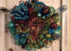 Large Peacock Wreath with cross on Etsy, $76.00