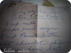 Great grandma's recipe for peter pan fudge