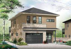Garage contemporain avec logement à l'étage! Plan de Maison unifamiliale W3954-V2 de Dessins Drummond