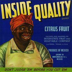 La Feria, Texas TX - Vintage Inside Quality Orange Citrus Fruit Crate Box Label Advertising Art Print. vintag, histori, fruit crate, food label, crate art, crate label, insid qualiti, aunt jemima, black americana