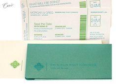 concert tickets, travel theme, wedding destinations, airline tickets, wedding planning, letter press, folder design, destination weddings
