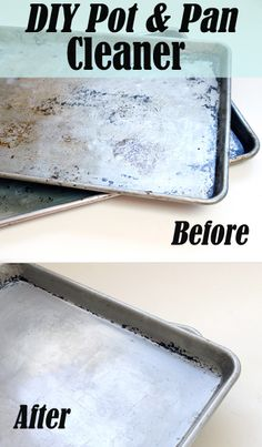 Make your own eco-friendly metal pot and pan cleaner!  1/2 c baking soda 1 tsp. dish soap 1 - 2 tbsp. hydrogen peroxide  Combine, then scrub over pans!