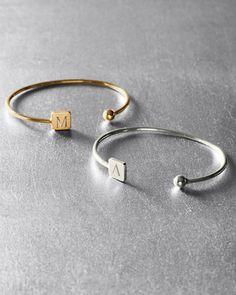 "Sarah Chloe Square Initial Bracelet. ""L"" please/ in Sterling"