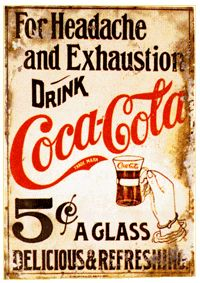 coca cola ... named for it's medicinal ingredients, the coca leaf & the kola nut ... both of which are mild stimulants & the coca is a known pain reliever & settles the stomach