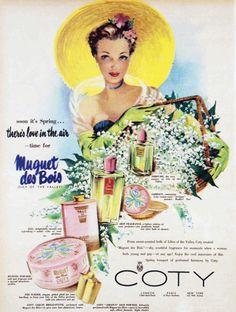 Vintage Coty perfume advertisement, 1951.