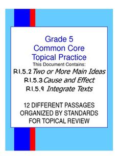 TOPICAL COMMON CORE PRACTICE!!!  THREE STANDARDS COMBINED!  12 Different passages to teach, review, and assess student understanding of three different Common Core Standards.  30+ Pages.  Historical, scientific, and technical passages are provided in a variety of text formats.  This bundle includes practice passages, questions, and answer keys.  Common Core Made Easier $7.99