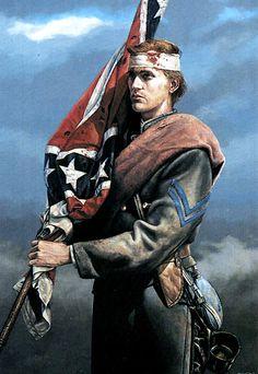 Confederate flag bearer.