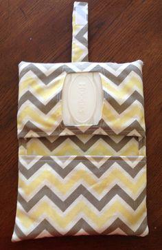 Yellow and Grey Chevron Diaper Clutch by RilosAndMiMi on Etsy, $12.00