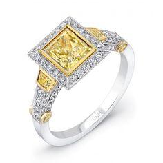 diamond engag, princesscut diamond, natur yellow, center diamond, yellow diamonds