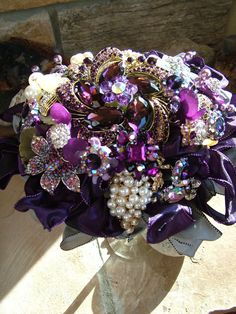 handmade Purple wedding brooch beaded-flower bouquet