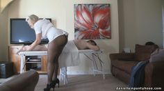 Pantyhose massage video sexy big ass masseuse in arse revealing uniform, black tights and a massaging her client. Pantyhose butt sexy big booty in nylon.