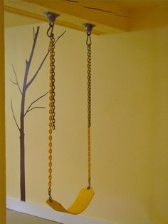 Swing in the basement, great for rainy days!