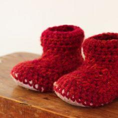 Crochet Slipper Boots with Sheepskin Sole (1 year old) | Homegrown KitchenHomegrown Kitchen