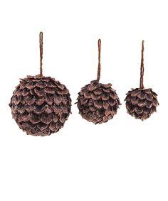 Brown Round Pinecone Ornament
