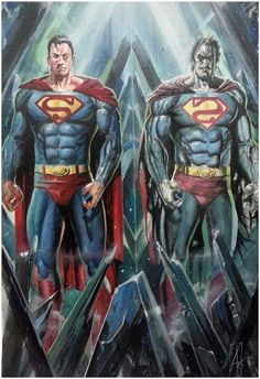 Superman & Bizarro Back to Back by Rudy Ao