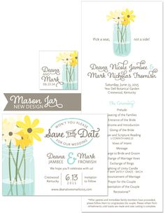 Mason Jar Save the Date and Wedding Day Stationery | by The Green Kangaroo, Inc.