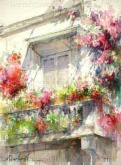 by Fabio Cembranelli fabio cembranelli, artists, watercolor paintings, watercolor workshop, soft colors, spain 2013, artist fabio, flower, window boxes