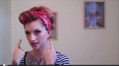 "Vintage Hair Tutorial pinup bandana updo ""Rosie the Riveter"" by CHERRY DOLLFACE, via YouTube."