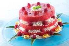 Watermelon Coconut Cake with Raspberry Filling