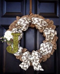 Burlap and Chevron (Spray paint letter green?) This will be my next wreath!!