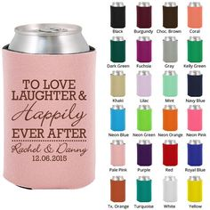 Wedding Beer Coozies (Clipart 1831) Love Laughter Happily Ever After - Personalized Koozies - Custom Koozies - Wedding Favor Koozies