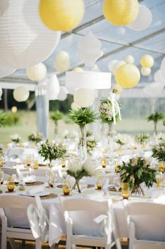 love the white and yellow paper lanterns