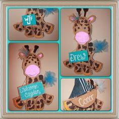 Giraffe burlap Baby Door hanger  giraffe hospital by Cutipiethis on etsy
